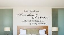 ALL OF THIS HAPPENED BY TAKING YOUR HAND Vinyl Decal  Quote Lettering Words