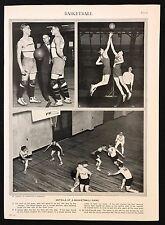 VINTAGE Stampa/Piastra 1929 Enciclopedia Britannica, BASKET, i dettagli di un gioco