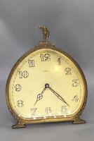 Antique Brass 8-Days Golf Themed Gold Faced Desk Clock
