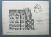 AR85) Architektur Breslau Polen Wroclaw 1885 Kaiser Wilhelm St Holzstich 28x39cm