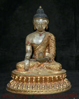 "8.8 ""Tibet Cuivre 24k or doré Cristal Shakyamuni Amitabha Bouddha Robe Statue"