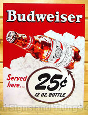 Budweiser Served Here 25 cents TIN SIGN vintage bottle home bar wall decor 981