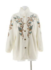 Bob Mackie Embroidered Fleece Jacket Quilted Collar Floral 1X Ivory NEW A11560