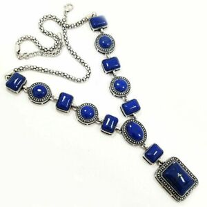 "LAPIS LAZULI GEMSTONE SILVER PLATED BLUE NECKLACE JEWELRY 20"" #SGJNEC1003"