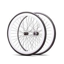 Fixie 700c Deep 45 mmFixed  Front & Rear Wheels set w Tire Tube White