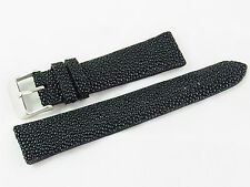 20mm Genuine Real Stingray Skin Watch Band Strap Nubuck Suede Backing Black