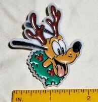 Rare Vintage Disney Pluto Reindeer Christmas Wreath Clasp Pin Badge