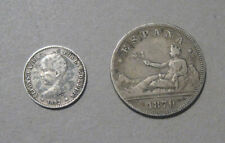 New listing Spain - (2) Silver Coins - 2 Pesetas 1870 & 50 Cents 1892