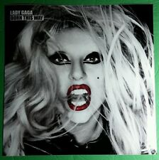 "LADY GAGE BORN THIS WAY B&W RED LIPS 12""x12"" POSTER WINDOW CLING"