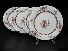 LILINGFINE CHINA BROWN FLORAL CATHAY SET OF 4 DINNER PLATES ..