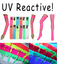 NEON and UV! Slashed Arm Warmers Punk Look Sleeves + Thigh Socks