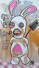 "eR. ""Lapin""-(street art brut, basquiat kokian combas johnson rabbit) PAYPAL OK"