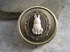 Handmade Antique Bronze Bunny Cameo Pill Box