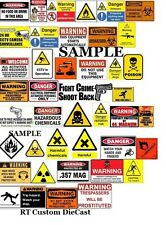 1/18 WARNING signs #1 - for your shop/garage/diorama/accessories