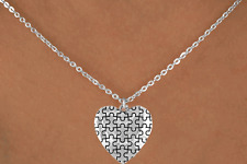 Autism/Aspergers Awareness Inspirational Puffed Heart Puzzle Piece Necklace