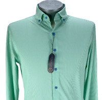 NWT Peter Millar Button Up Long Sleeve Shirt Green Striped Nylon Mens Size M