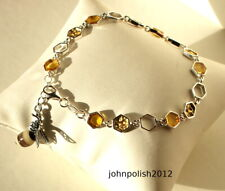 BEE and Honeycomb Baltic Amber Bracelet on  Silve
