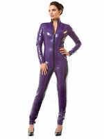 Honour Women's Sexy Catsuit in PVC Purple High Neck & Longsleeves
