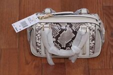 NWT Michael Kors $398 Julia Small Embossed Python Satchel Handbag Purse Ecru