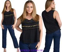 Womens Ladies plus sizes  Top Black UK 8 10 12 14 16 20  D26 tassel CHRISTMAS