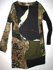 New Womens 12 NWT Dress 48 Designer I'M Isola Marras Italy Black Dark Green LS