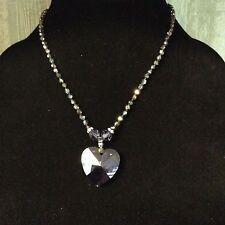 Lori Frantz-Koenig Crystal Heart Purple Pendant Iridescent bead Sterling