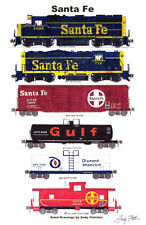"Santa Fe 1970s-era Freight Train 11""x17"" Railroad Poster by Andy Fletcher signed"