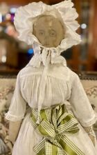 """Antique C1860 25"""" Ink Drawn Cloth Doll With Incredible Outfit"""
