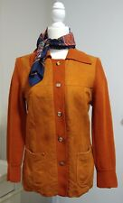 Vintage rust suede wool sweater with scarf size 12 Medium, 70's costume