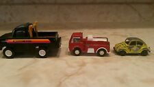 TOOTSIE TOY STROMBECKER TRUCK,VOLKSWAGAN SEDAN, FIRETRUCK METAL  TOY VEHICLES