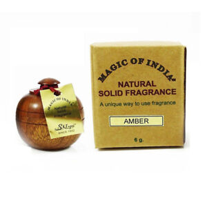 Magic of India AMBER Natural Solid Perfume Fragrance in Wooden Jar 6 gm