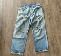 VINTAGE Big Mac Carpenter Denim Jeans 33 Patched Faded 3 Stitch USA 60s