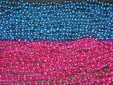 6 DOZEN (72) PINK/BLUE MARDI GRAS BEADS-BABY SHOWER/GENDER REVEAL-FREE SHIPPING