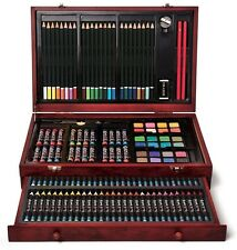 142 Piece Art Supplies Sketching Drawing Painting Kit Deluxe Wooden Case Artist