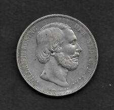 1871 NETHERLANDS  2 1/2 GULDEN  KING WILLIAM III   945 SILVER COIN KM# 82