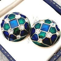 Gorgeous High Domed 1980s Goldtone Blue & Green Enamel Diamante Clip on Earrings