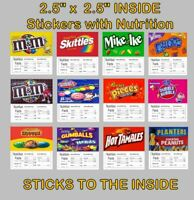 12 Inside Mount Product  VENDING Machine candy labels Stickers with NUTRITION