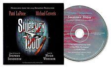 "Stephen Sondheim ""SWEENEY TODD"" Patti LuPone / Michael Cerveris 2006 Promo CD"