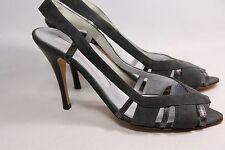 Carmen Ho Slingback Strappy Heels Gray Suede & Stingray Leather 38/7.5 Italy