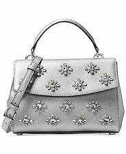 NWT Michael Kors AVA JEWEL SMALL TH Saffiano Leather Satchel Bag In SILVER $328