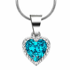 925 Silver Filled Heart Blue Aquamarine Pendant Chain Necklace Marriage Jewelry