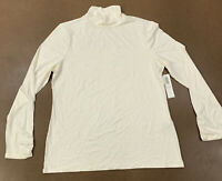 Chico's Women's Size Medium Ivory Mock Neck Long Sleeve Basic Knit Top NWT
