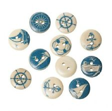 """Lot of 10 NAUTICAL SAILING 2-hole Wooden Buttons 5/8"""" (15mm) Scrapbook (4027)"""