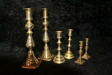 three pairs of Antique Victorian Brass Candle Sticks