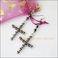 New Women Jewelry Winsome Retro Skull Cross Black Crystal Dangle Hook Earrings