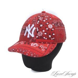 #1 MENSWEAR Kith New Era NY Yankees Red Bandana Patchwork Baseball Hat 7 3/4 NR