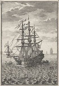1683 Names of the Main Sales of Ship 17th Century Copper Plate Engraving Mallet
