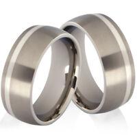 2 Eheringe Trauringe aus Titan und 925 Silber ohne Stein und Ringe Gravur TS026