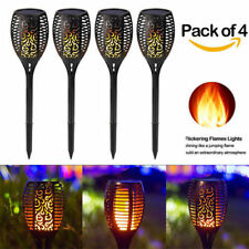 4 Pack Solar Path Garden Tiki Torch Lights 96 LED Flickering Path Dancing Flame