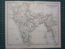 1887 Antique Map ~ Indien Empire Burma Bengale Ceylan Bombay Sindh Hydrabad
